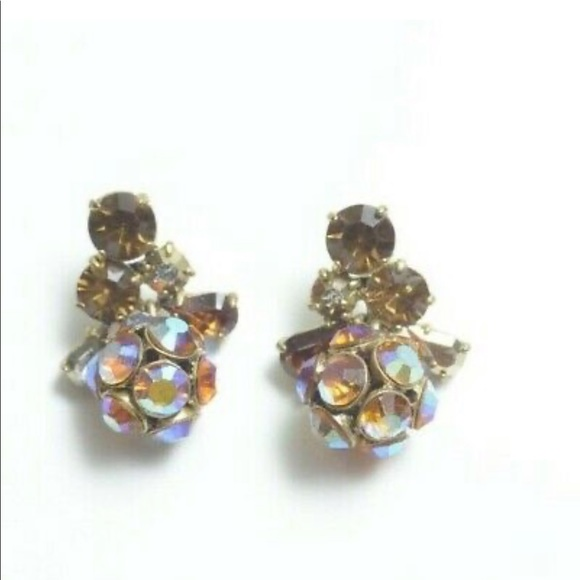 J. Crew Crystal Cluster Drop Dangle Earrings